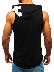 Čierne pánske tričko bez rukávov s potlačou a kapucňou BOLF 1285