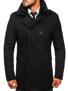Čierny pánsky zimný dvojradový kabát s odnímateľným golierom Bolf 8805