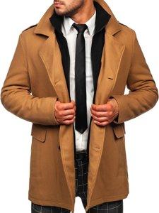 Kamelový pánsky zimný dvojradový kabát s odnímateľným golierom Bolf 8805