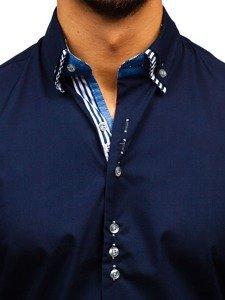 Tmavomodrá pánska elegantá košeľa s dlhými rukávmi BOLF 4703