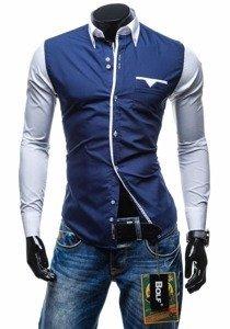 Tmavomodrá pánska elegantná košeľa s dlhými rukávmi Bolf 5726